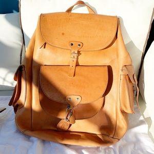 Vintage Leather backpack camel tan large santorini